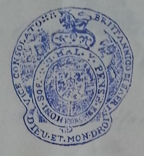 Timbro del Regolamento Generale del Consolato Britannico di Sapri