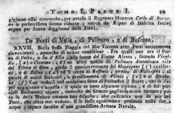 Troyli, vol. I, p. 59 su Sapri ed il suo porto