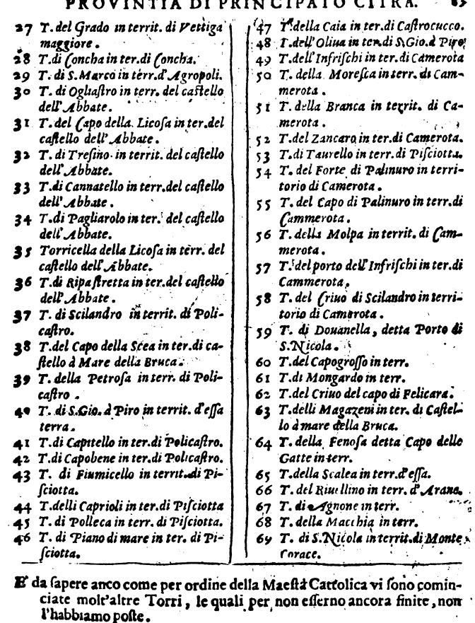 Mazzella Napolitano, p. 83, sulle Torri del Principato Citra